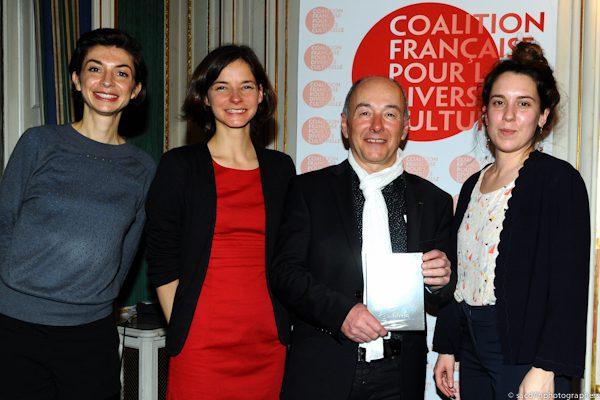 L'équipe de la Caravane des Dix Mots: Eglantine Chabasseur, Emilie Georget, Thierry Auzer, et Adèle Blin
